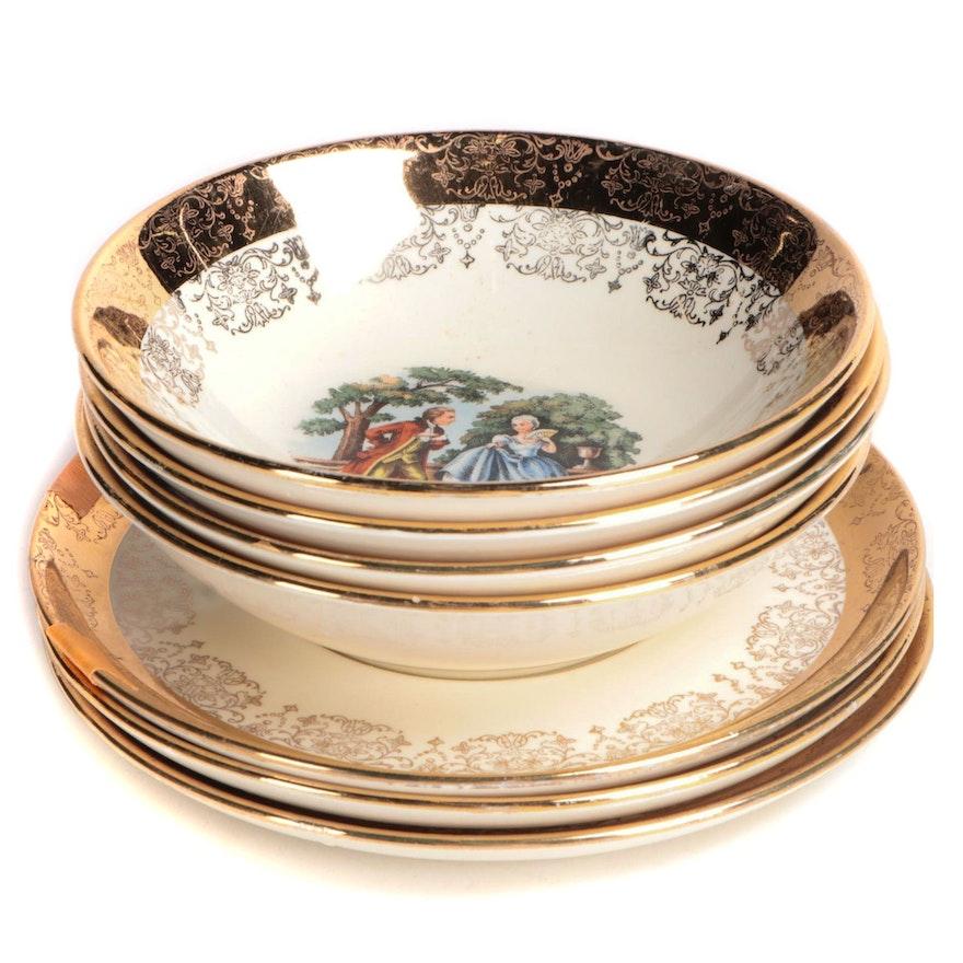 Sabin Crest-O-Gold Romantic Pattern Gilt Porcelain Saucers and Fruit Bowls