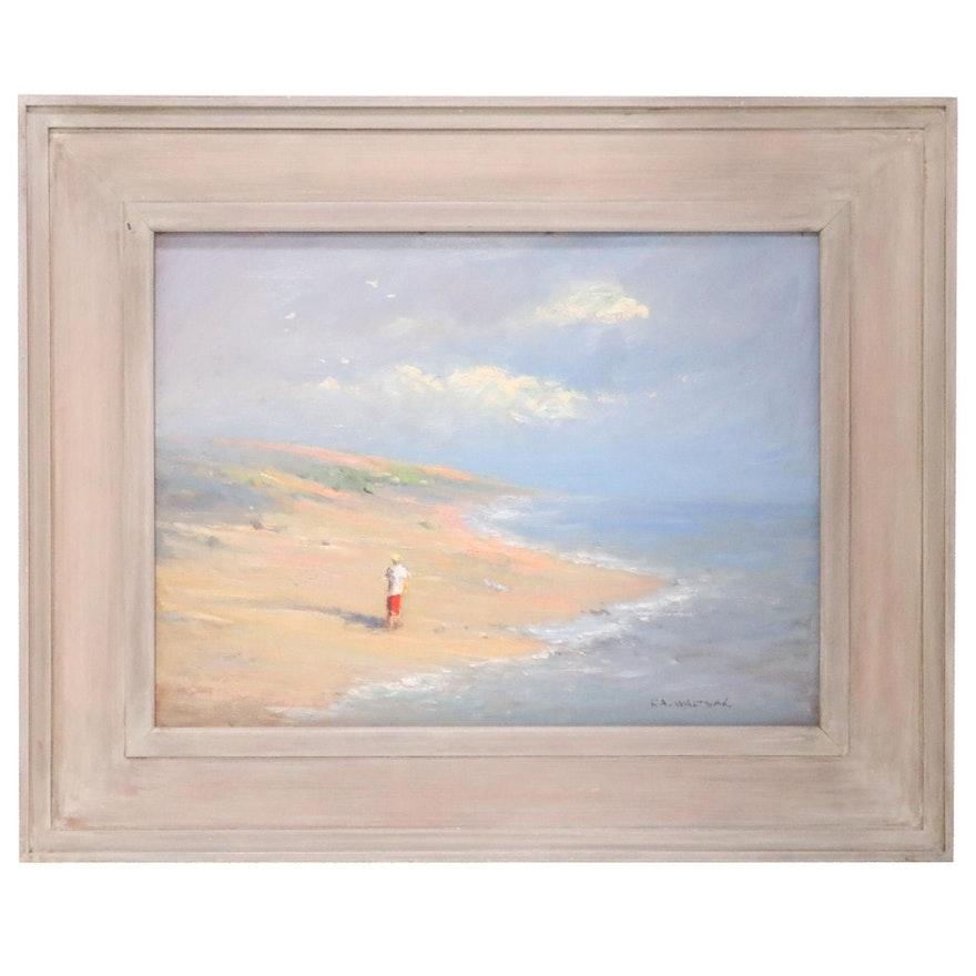 """Robert A. Waltsak Oil Painting """"Running the Beach,"""" 2015"""