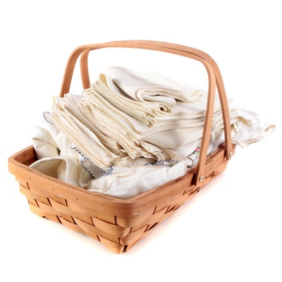 Embroidered Table Linens with Woven Basket