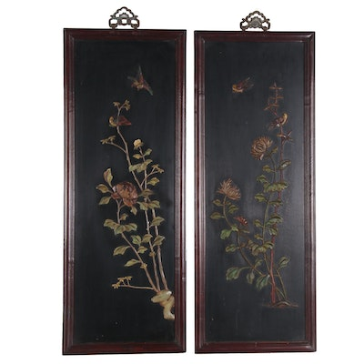 Chinese Black Lacquered Carved Soapstone Panels of Flower and Birds