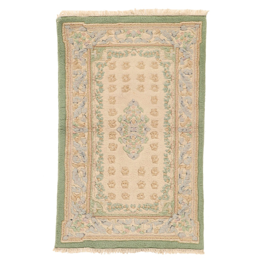 2'7 x 4'3 Hand-Knotted Indo-French Aubusson Accent Rug, 1990s
