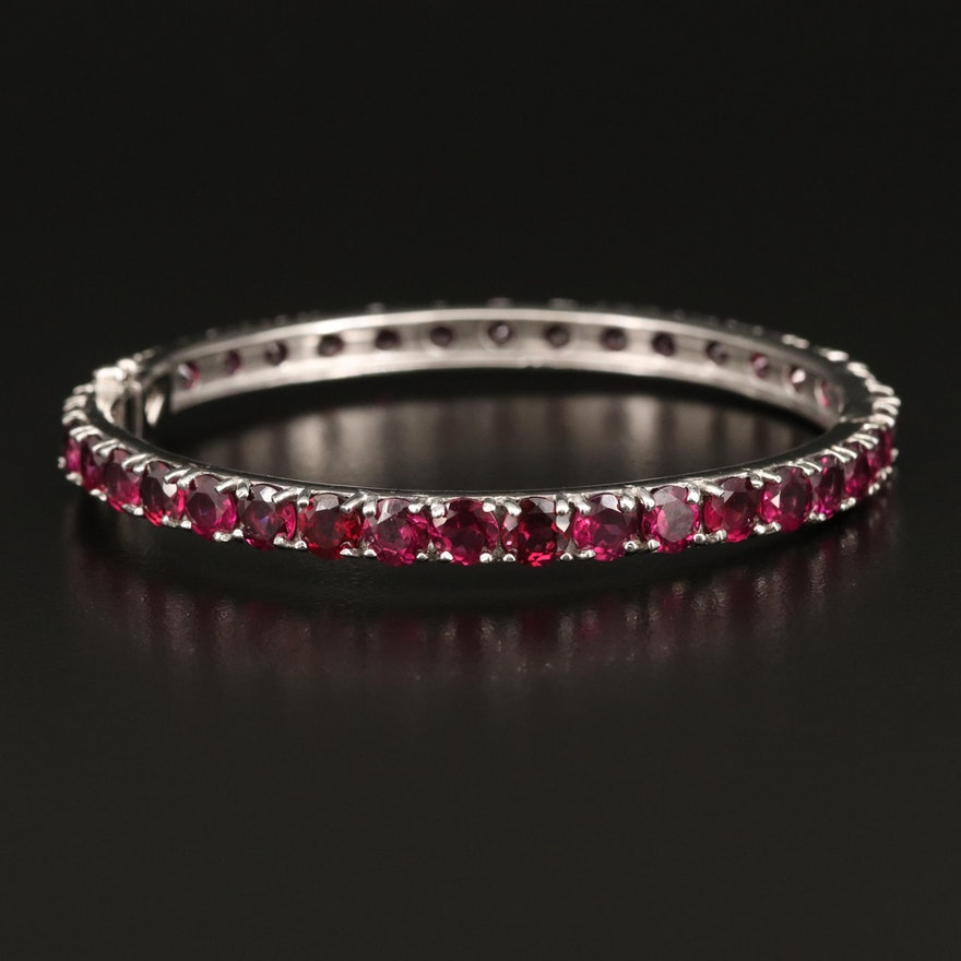 Sterling Silver Garnet Hinged Bangle