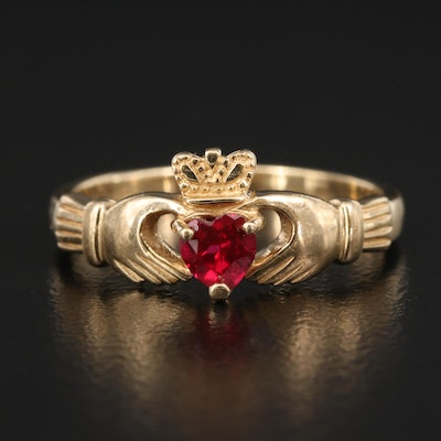 10K Ruby Claddagh Ring