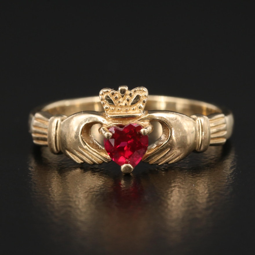 10K Ruby Claddagh Ring