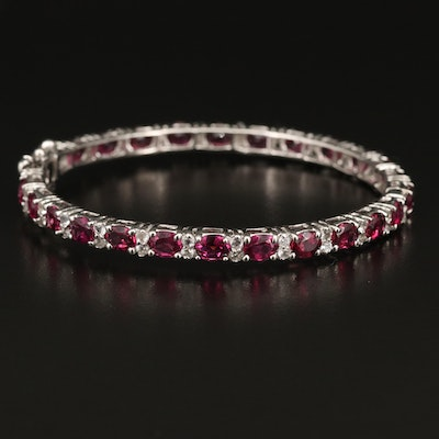 Sterling Garnet and Topaz Hinged Bangle with Cubic Zirconia Accents