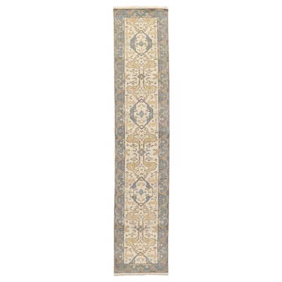 2'6 x 12' Hand Knotted Indo-Turkish Oushak Carpet Runner, 2010s