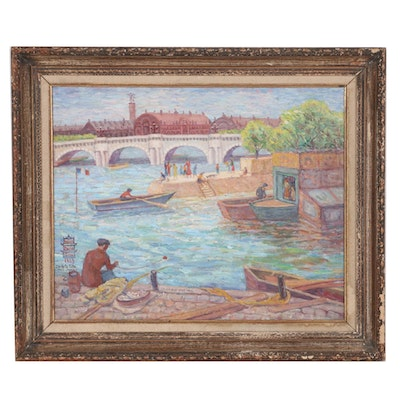 Helga Marie Chu Oil Painting of Paris on the Seine River, 1939