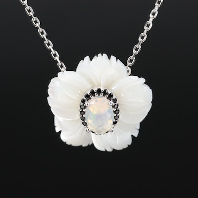 Sterling Mother of Pearl, Opal and Cubic Zirconia Flower Necklace