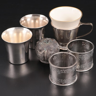 Stieff Sterling Silver Shot Cups, Demitasse Cup and Mexican Sterling Tableware