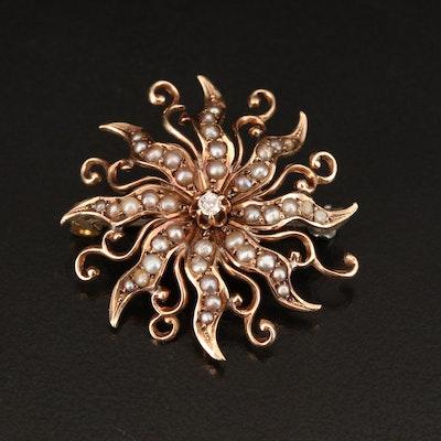 Antique 10K Diamond and Seed Pearl Sunburst Brooch