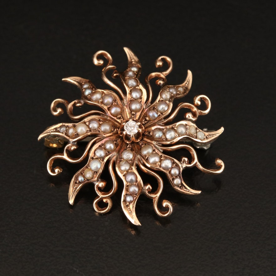 Antique 10K Diamond and Seed Pearl Sunburst Brooch
