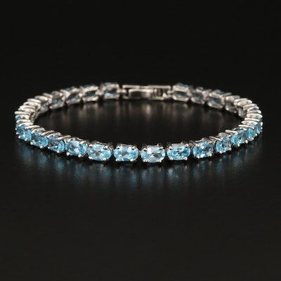 Sterling Silver and Topaz Line Bracelet