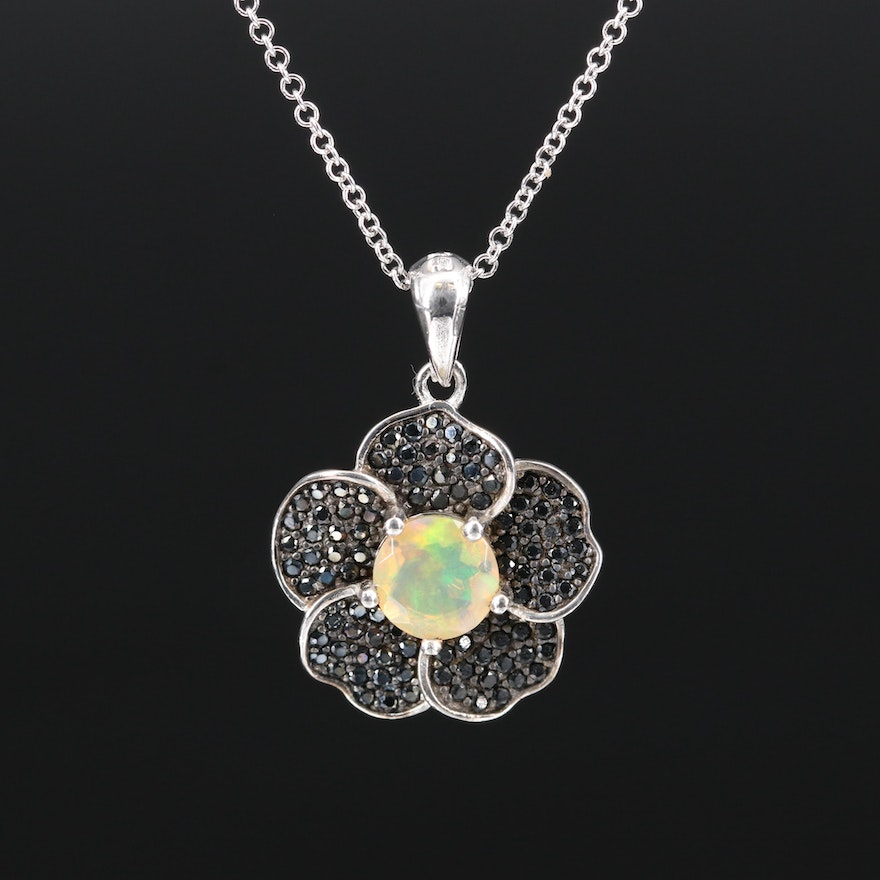 Sterling Opal and Spinel Flower Necklace