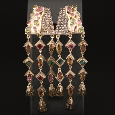 800 Silver Tourmaline and Diamond Chandelier Earrings with 18K Accents