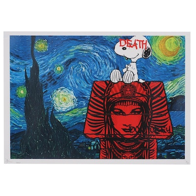 Death NYC Pop Art Offset Print of Snoopy and Starry Night, 2020