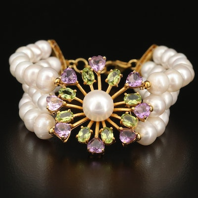 Triple Strand Pearl Bracelet with Sterling, Peridot and Amethyst Clasp