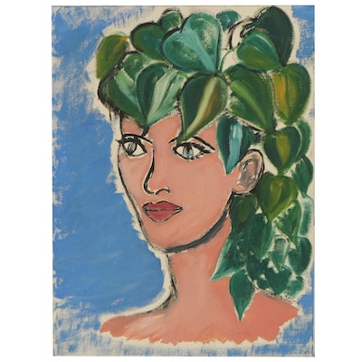 Portrait Oil Painting with Vines, Mid-20th Century