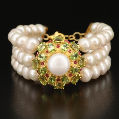 Sterling Silver Triple Strand Pearl, Peridot and Corundum Bracelet