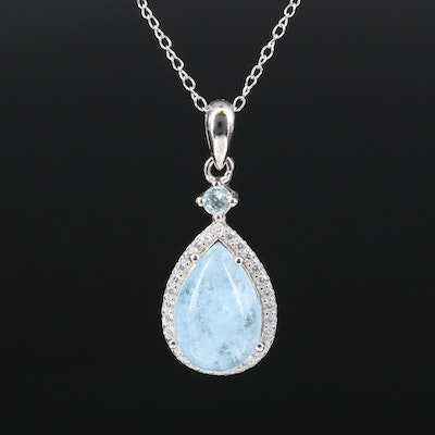 Sterling Aquamarine, Topaz and Cubic Zirconia Necklace