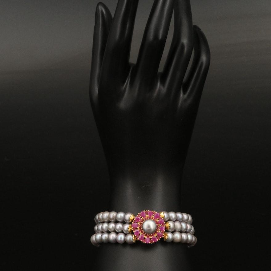 Sterling Silver Triple Strand Pearl and Corundum Bracelet