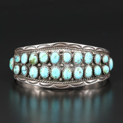Southwestern Sterling Turquoise Double Row Cuff