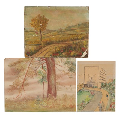 Landscape Watercolor and Oil Paintings, Mid-20th Century