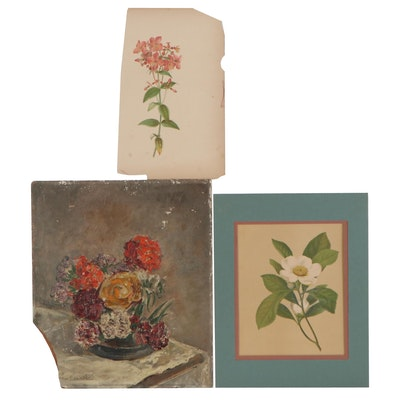 Floral Still Life Impasto Oil Painting with Botanical Chromolithographs