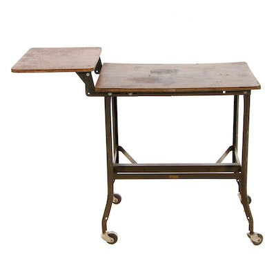 "Wood ""OSU 214841"" Typing Desk on Wheels"
