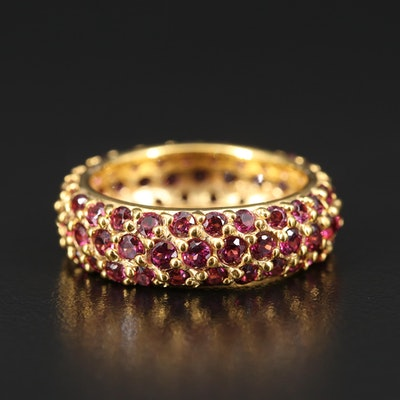 Sterling Silver Rhodolite Garnet Eternity Band