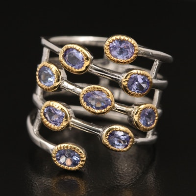 Sterling Silver Bezel Set Tanzanite Ring