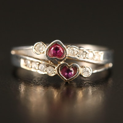 14K Ruby and Diamond Split Shank Heart Ring