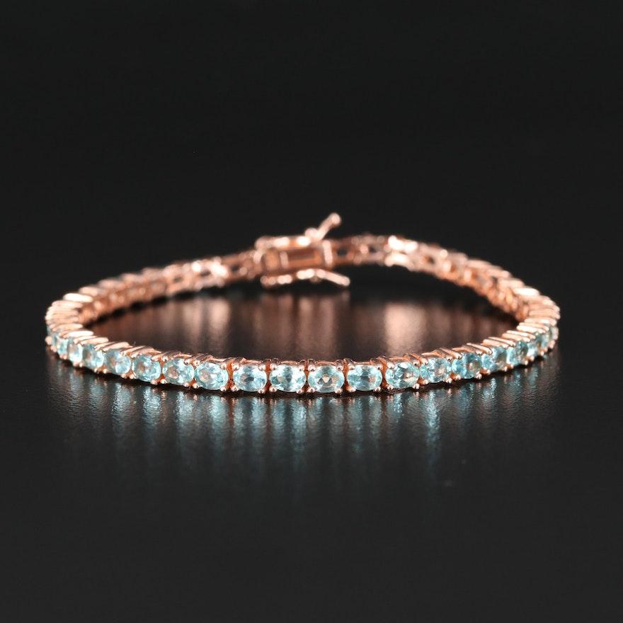 Sterling Silver Apatite Link Bracelet