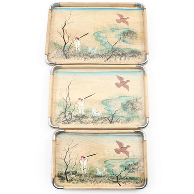 Hand-Painted Wooden Hunting  Scene Serving Trays, Mid to Late 20th Century