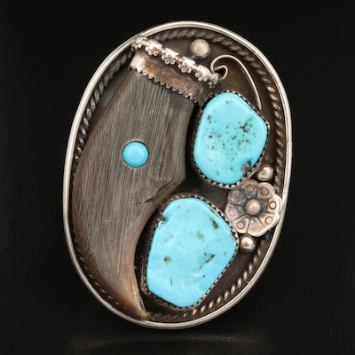 Tammy Nelson Navajo Diné, Sterling, Horn and Turquoise Doublet Ring