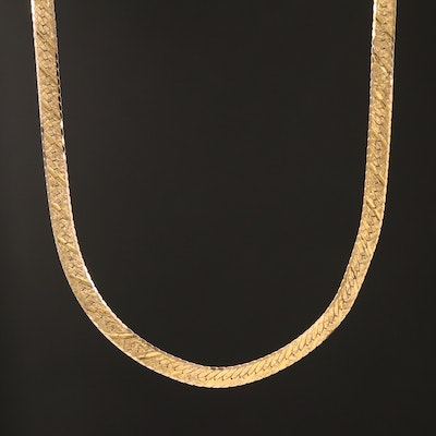 14K Textured Herringbone Chain Necklace