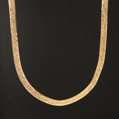 14K Textured Herringbone Chain Necklace