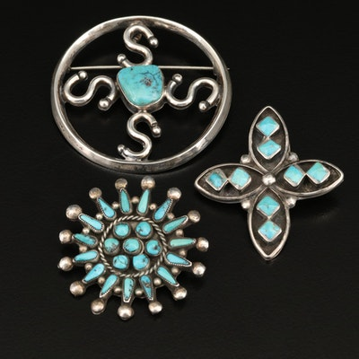 Southwestern Style Sterling Turquoise Brooches Featuring Petit Point