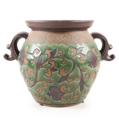 Earthenware Handled Planter with Leaf and Vine Motif, 21st Century