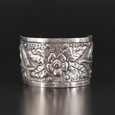 Vintage Sterling and 900 Silver Flower Cuff