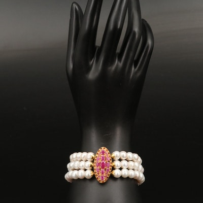 Triple Strand Pearl Bracelet with Sterling, Garnet and Corundum Clasp