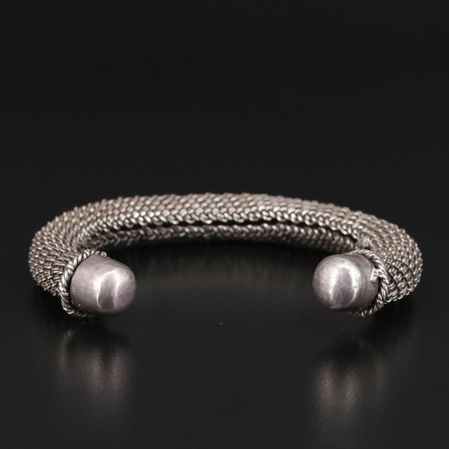 800 Silver Woven Wire Cuff