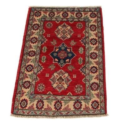 2'1 x 3'1 Hand-Knotted Afghan Caucasian Kazak Accent Rug, 2010s