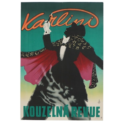 """Karlini """"The Great Magician"""" Chromolithograph Magic Poster, 1930s"""