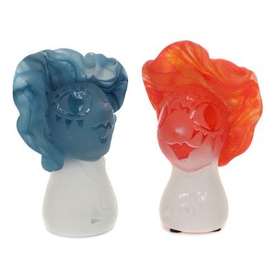 Fellerman and Raabe Art Glass Busts, 2003