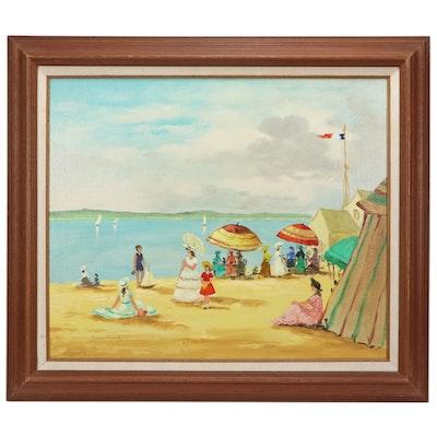 Pierre David Oil Painting of Beach Scene