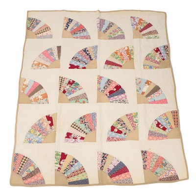 """Handmade """"Grandmother's Fan"""" Twin Quilt with Dairy Feed Sacks"""