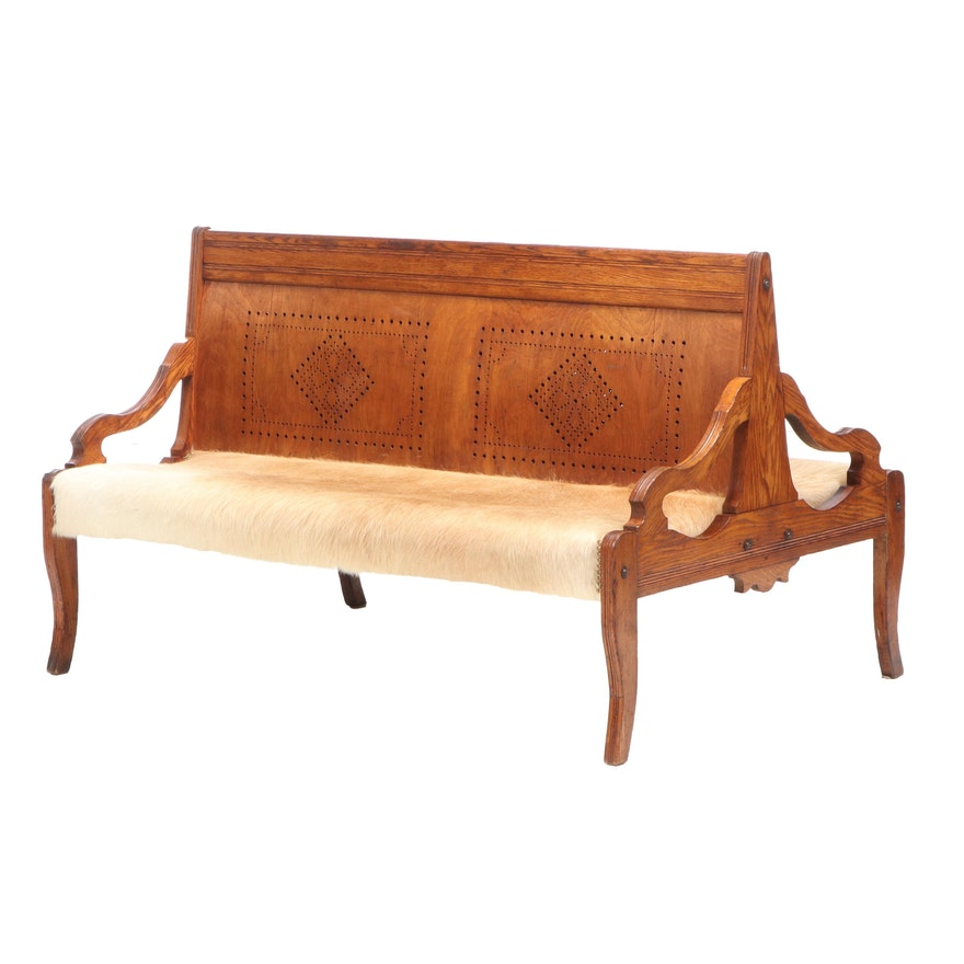Double Sided Oak Bench with Perforated Walnut Back and Cowhide Seats