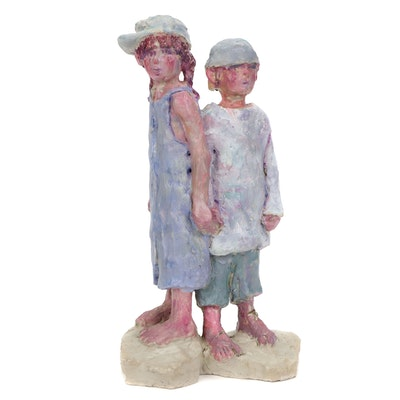 "Dorothy Stevens Hand-Built Sculpture ""Just Kids"""