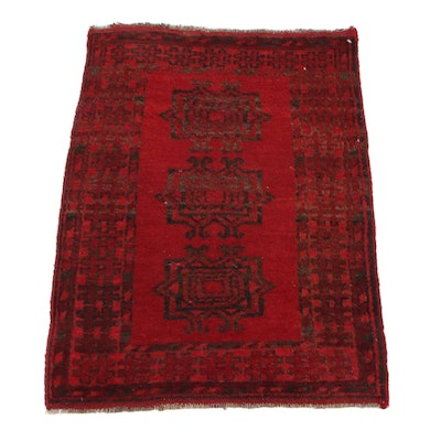 2'1 x 3' Hand-Knotted Afghan Turkmen Accent Rug, 1960s