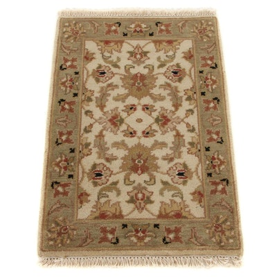 2' x 3'2 Hand-Knotted Indo-Turkish Oushak Accent Rug, 2000s